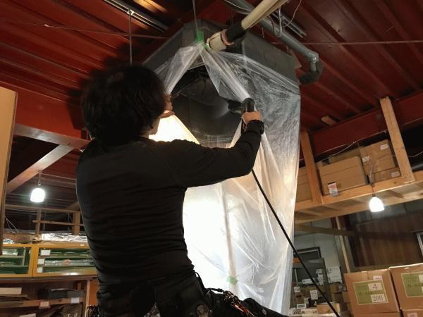 京都市東山区 業務用エアコンクリーニング 天カセ4方向型